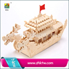 Custom DIY puzzle 3d Wooden dragon boat Chinese ship children wood educational construction toys