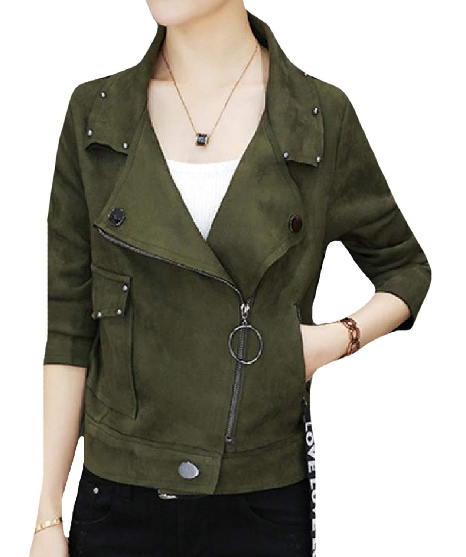 YUNY Women Original Fit Faux Suede Rock Style Moto Biker Jacket