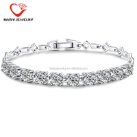 factory price hot selling new style women diamond tennis bracelet 925 sterling silver cubic zirconia