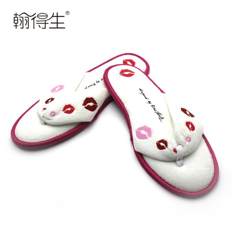Custom cotton velour womens slippers for women summer