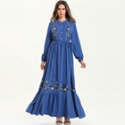 Factory Direct Sale Of Long Sleeve Muslim Robes And Women Dress In Large Size Embroidered Ruffled Skirt Abaya Sell Online