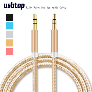 aux cable jack 3.5mm male to male aux Audio cable 1M Aluminum Alloy Gold Plated Plug nylon wire for car/headphone/MP4 3 Speaker