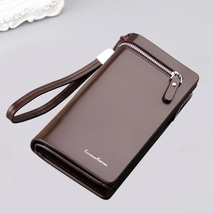 New Arrival Men's Long faux <strong>Leather</strong> Purses High Grade Business <strong>Clutch</strong> for Man with phone pouch
