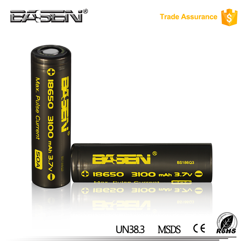 Hot new item basen 3100mah 50a lithium ion battery flat top/ button top 18650 50a lithium battery
