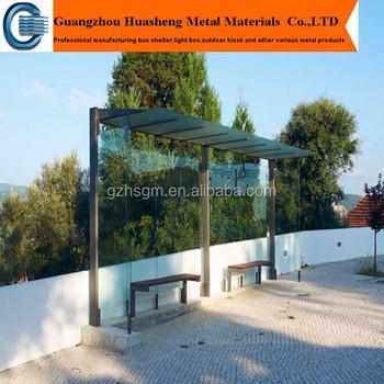 Aluminum Profile Tempered Glass Bus ShelterModern Waiting Bus