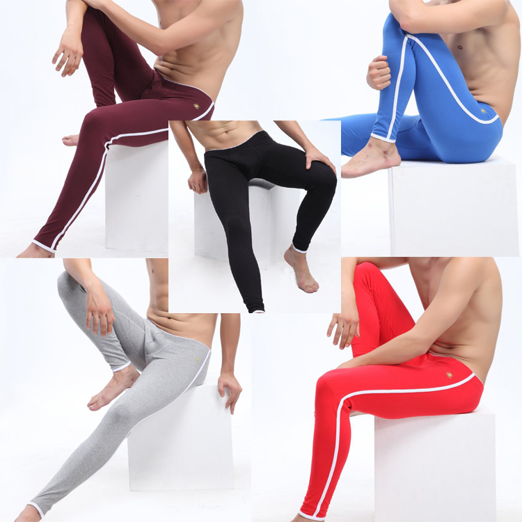 Men long johns Slim low waist trousers warm pants Men Underwear Embroidered Cotton Long Johns keep warm winter MU065
