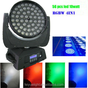 CE& RoHS! 56x10w 4in1 led wash moving head with zoom stage light