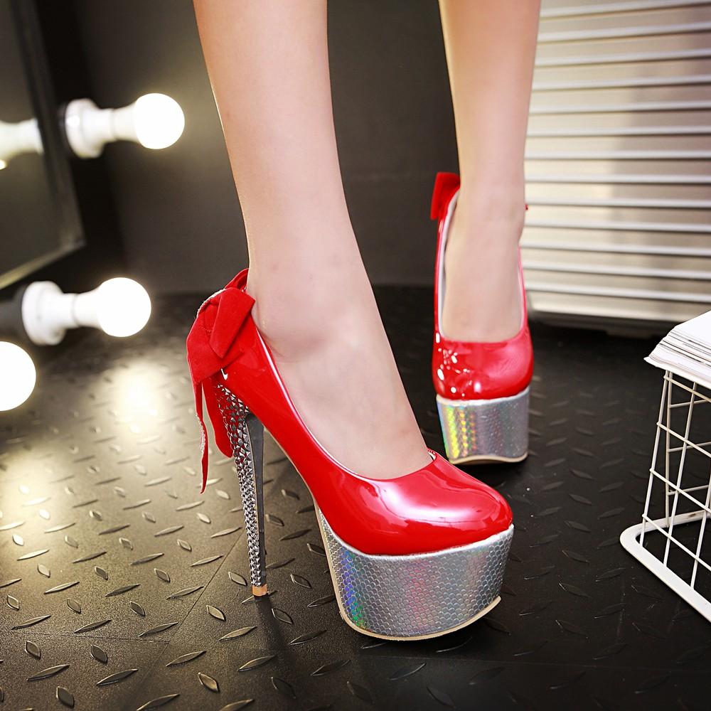 Red And Gold Platform Heels Is Heel