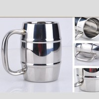 High quality 2015 new products 500ml 16oz 18oz Double Wall Barrel Shaped Stainless Steel Beer Mug