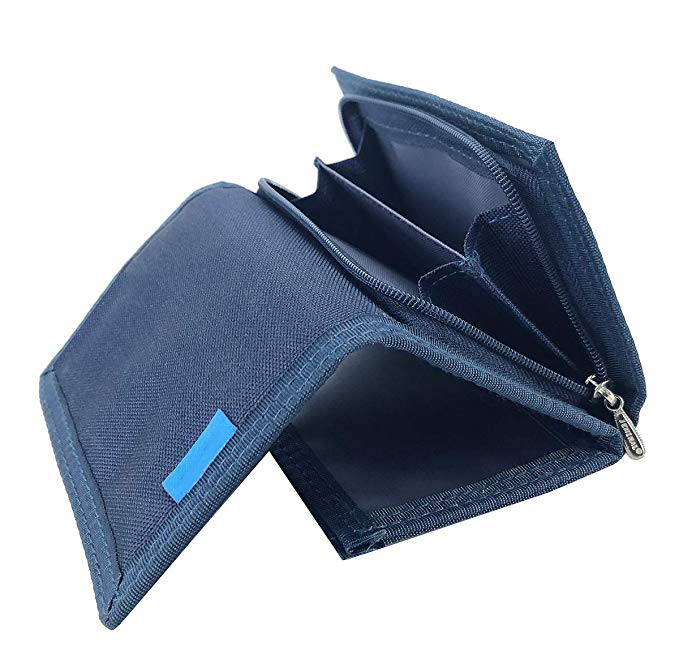 New Mens Canvas Trifold Leather Wallets for Boys Purse with id window