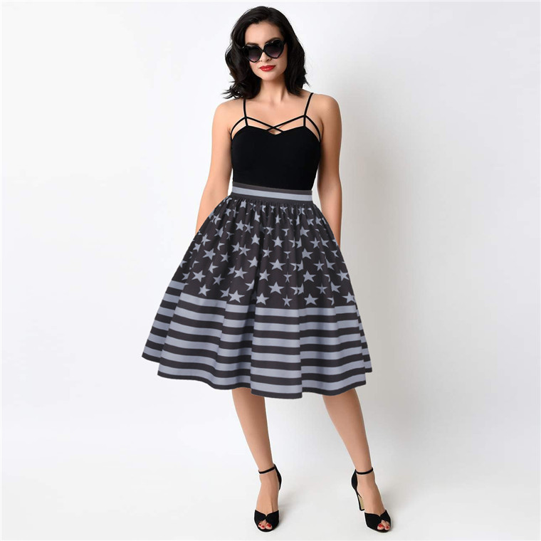 Wholesale American Flag Fashion Girl's Pleated Women Print Style Midi Skirt
