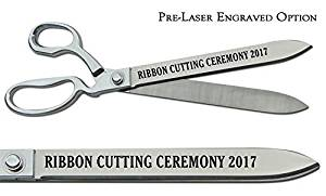 """Pre-Laser Engraved """"RIBBON CUTTING CEREMONY 2018"""" 15"""" Chrome Plated Ceremonial Ribbon Cutting Scissors"""