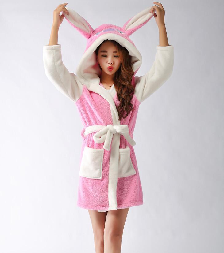 5fd432ab33 2017 Fashion Design Cute Pink Rabbit Women s Cartoon Animal Patten Coral  Velvet Warm Bathrobe Nightgown Pajamas