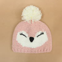 Cute pink cat hair hat in autumn and winter Cotton knitted hats for men, women and children Set head hat