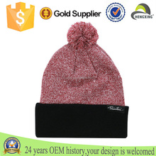 wholesale custom mens cotton beanie hat with ball top