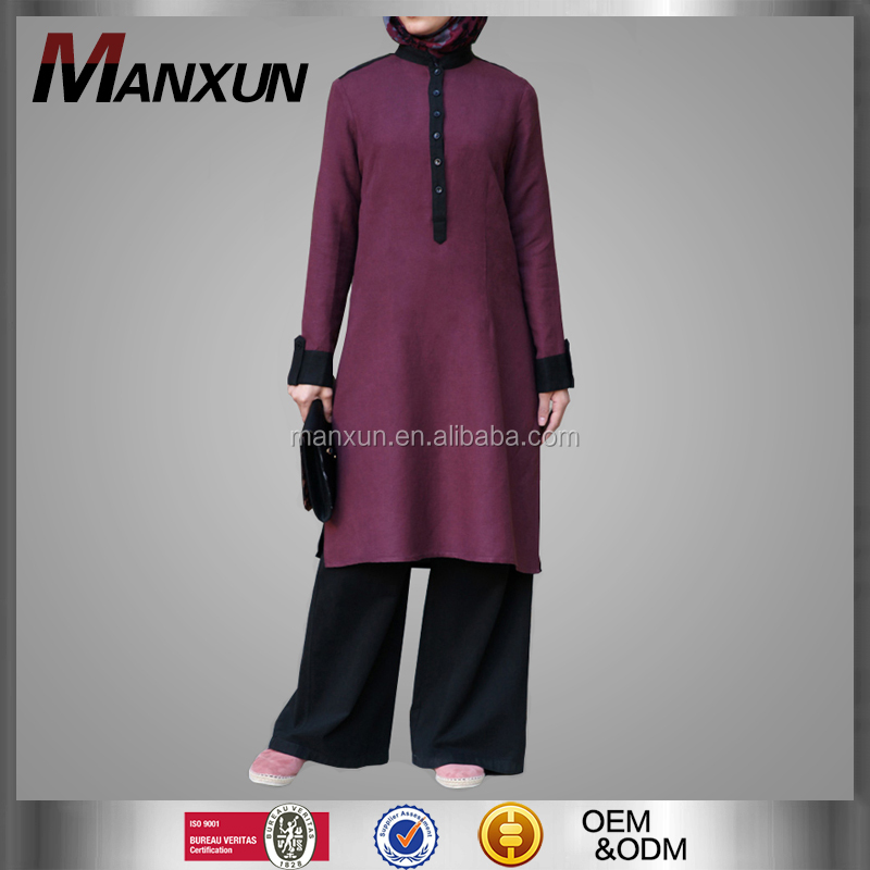 High Quality Muslim Wine Red Ladies Tops Plain Color Coat For Middle East Ethnic Region Womens