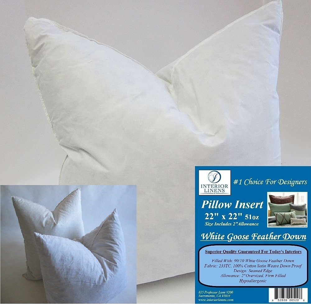 "2 Pillow Inserts: 22""x22"" 51oz. 90/10 White Goose Feather Down - 2"" Oversized & Firm Filled (Actual Size: 24""x24"")"