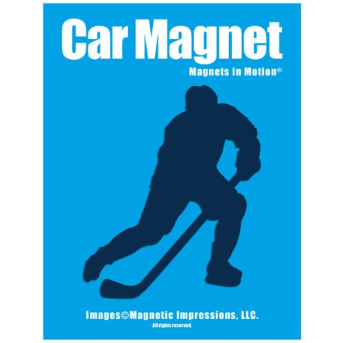Ice Hockey Player Male Car Magnet Pose 3 Blue