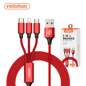 Feisman 1.2M Multi 3 in 1 USB Charging Data Cable For Apple IOS iPhone 6 7 8 X, Android Type C, Fast Cell Phone Charger Cable