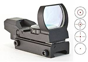 Global Sportsman Tactical Combat Military Four 4 Separate Reticle 7 Brightness Settings Red Dot Tubeless Open Reflex Design Sight with Weaver-Picatinny Rail Base Mount