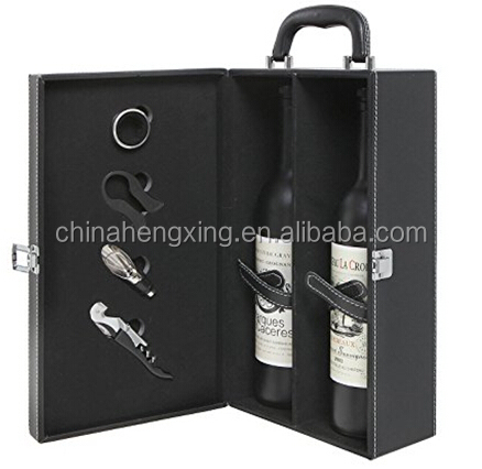 HX-BL129 2Bottle Modern Black Top Handle Travel Wine Carrier Case with 4 Piece Wine Accessory Set