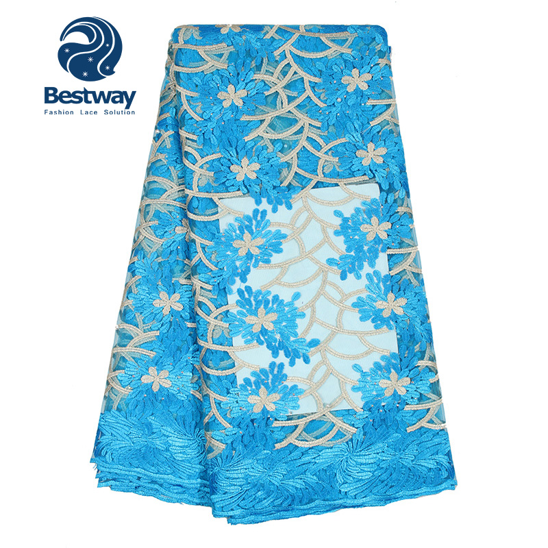 Quality Bestway Shanghai Textiles Fabric Lace 3d French Tulle Net Lace With Beads
