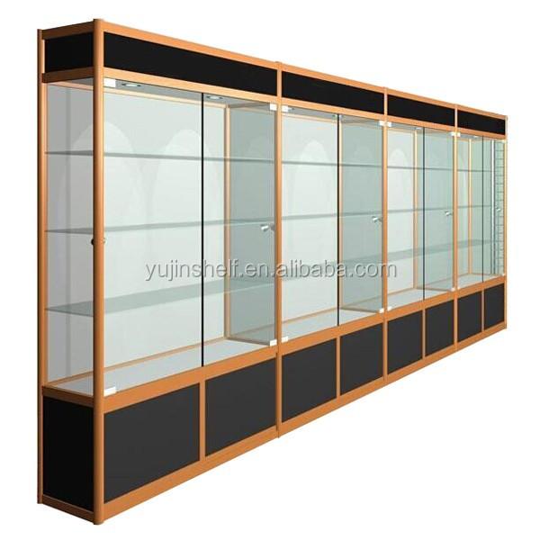 glass vitrine display showcase with led light aluminum. Black Bedroom Furniture Sets. Home Design Ideas