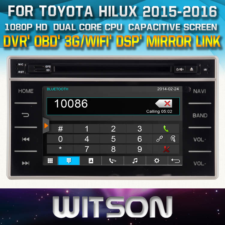 WITSON SPECIAL <strong>CAR</strong> DVD PLAYER WITH GPS FOR <strong>TOYOTA</strong> HILUX 2015 2016 WITH 1080P CAPACITIVE SCREEN WIFI 3G DVR OBD TPMS MIRROR LINK
