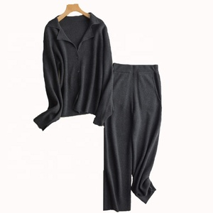 Women's winter knitted cashmere sweater and pants suits