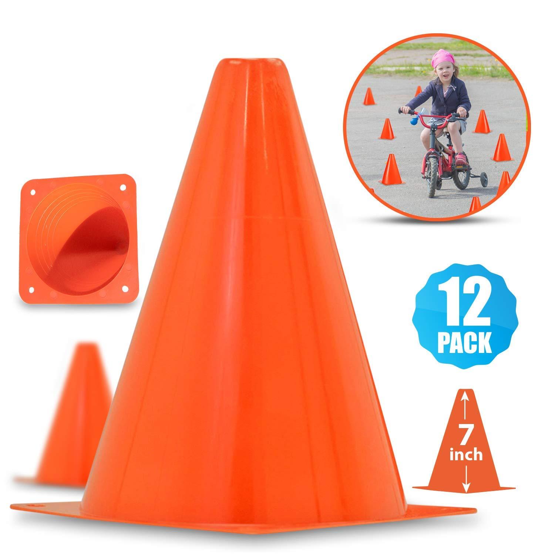 "1b47c8c46 Multipurpose 7"" Traffic Cones For Outdoor Activities | Plastic Orange  Safety Cone Set For Sports"