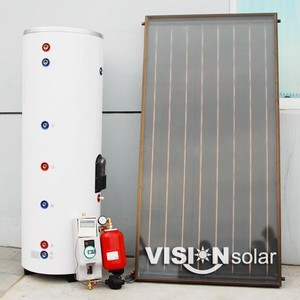 Best efficient flat panel active solar water heating system