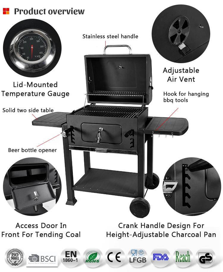 Zwart Expert Outdoor Picknick Barbecue Rechthoekige Grill