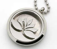 30MM 316l Stainless Steel Round Silver Lotus Flower Essential Oils Aromatherapy Locket Perfume Diffuser Necklace Wholesale