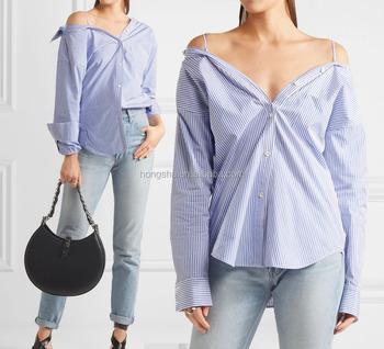 fa17e83b9b5 Sexy Off-The-Shoulder Striped Cotton-Poplin Ladies Tops Button Down Blouse  Back