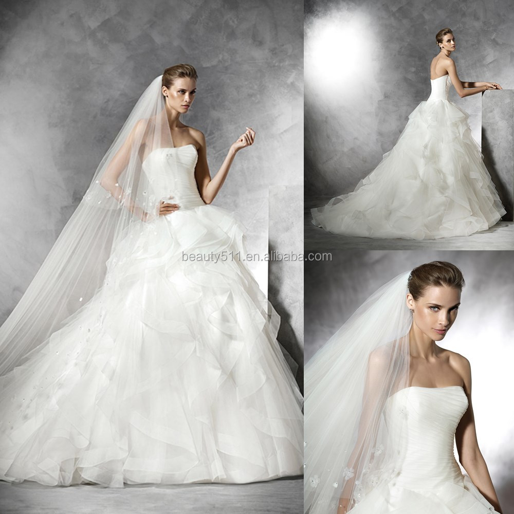 2017 Ball Gown Strapless Draped Bodice Floor-length Ruffled Latest Bridal Wedding Gowns #W486