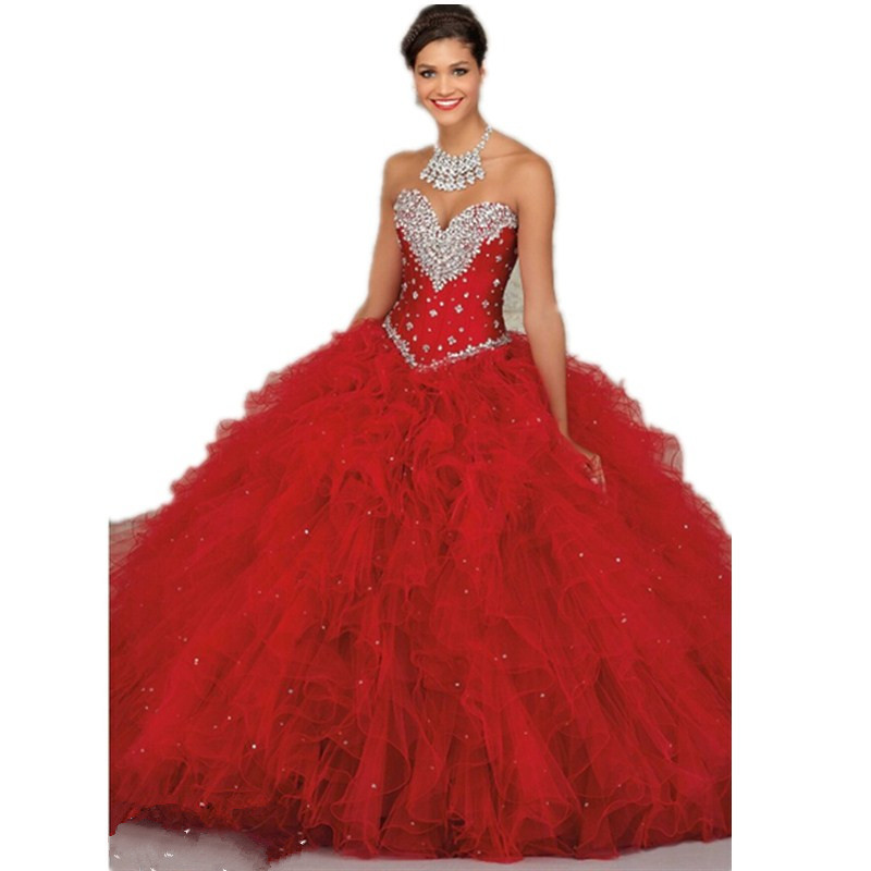 Red sparkling Sweet heart sleeveless ball gown beaded rhinestone elegant quinceanera dress sweetheart backless pageant PROM dres