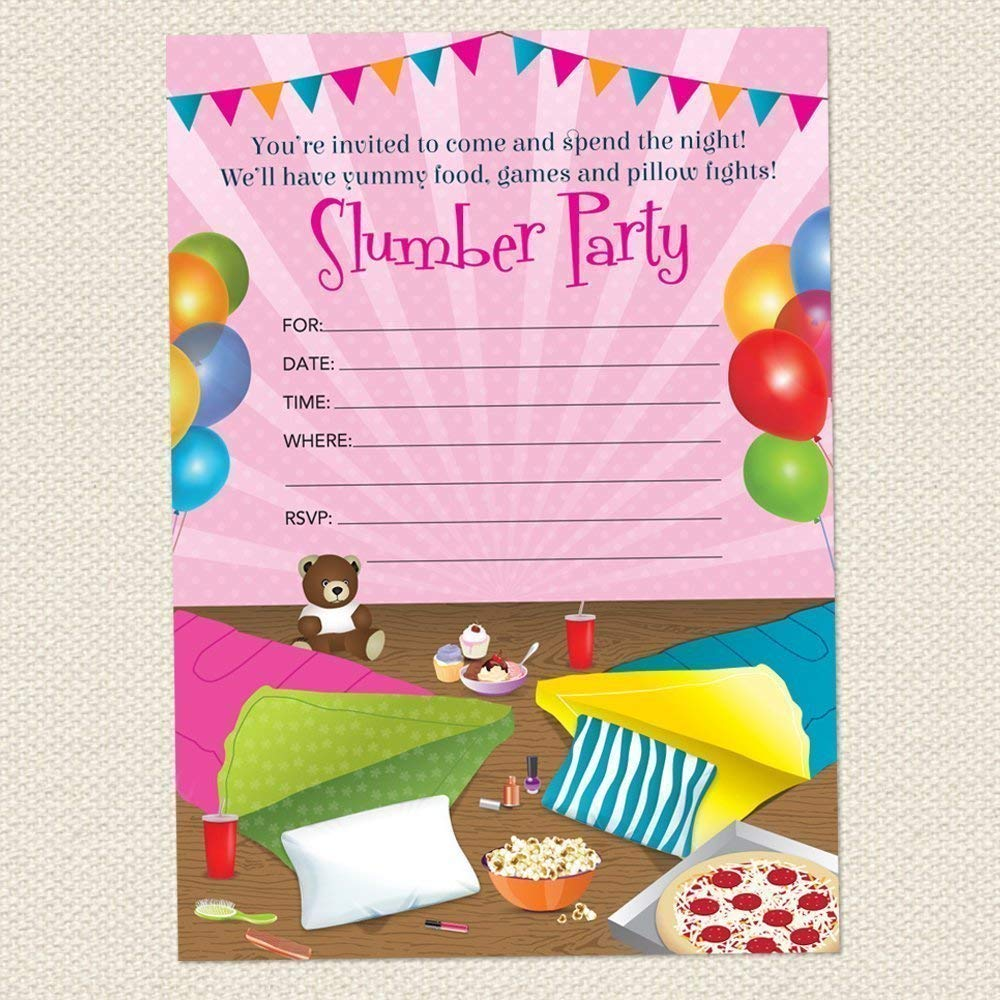 Get Quotations Sleepover Slumber Birthday Party Invitations Set Of 10 Fill In Blank 5x7 Inch Invites
