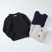 Ivy10086B European winter kids boys solid color knitted patterns cardigan stylish children's classical sweater