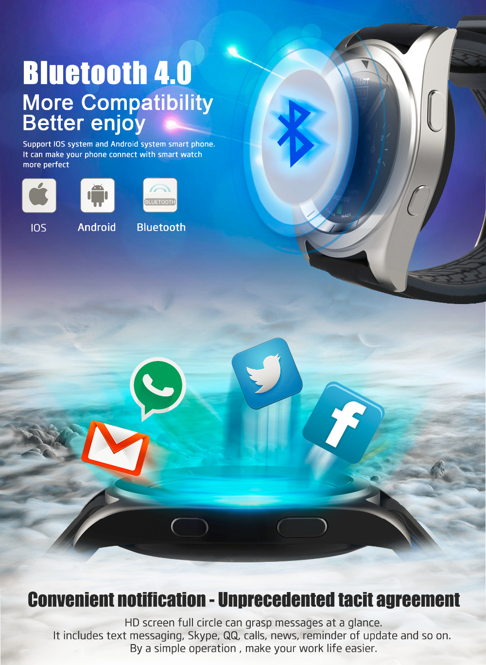 Made In China Touch Screen Smart Watch Bluetooth Watch,Android ...