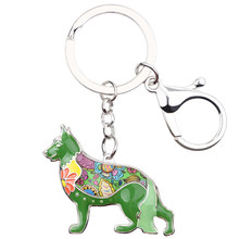 Bonsny эмаль немецкая овчарка брелок для ключей 2017 новая мода ювелирные изделия для женщин сумка кулон брелок для автомобильных ключей аксесс...(Китай)