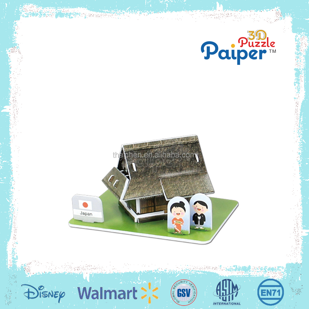 3d colorful paper miniature world traditional house game diy puzzle toys for kid