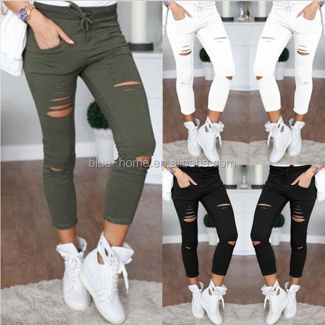 2017 Skinny Women Denim Pants Holes Destroyed Knee Pencil Pants Stretch Ripped Jeans Casual Trousers