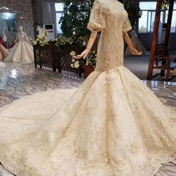 Lss343 Long Gold Gown Elegant Prom Dress Mermaid Long Puffy Gold