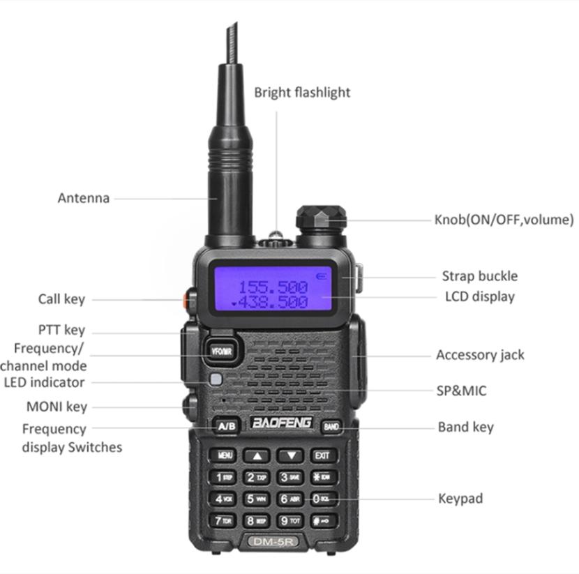 BaoFeng DM-5R vhf רדיו דיגיטלי dual band שתי דרך רדיו נייד vhf uhf