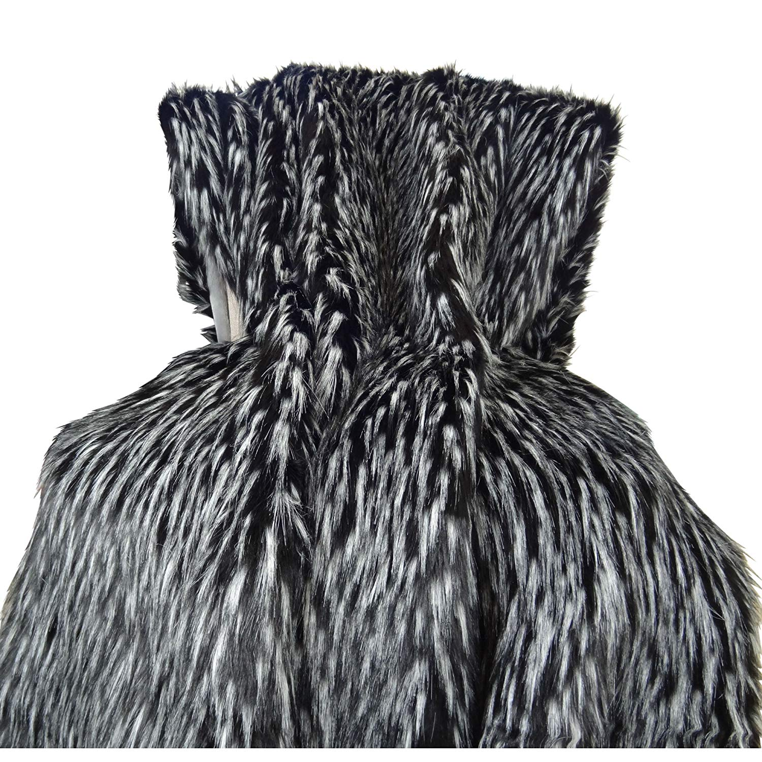 Thomas Collection Black White Fur Throw Blanket & Bedspread - Wolf Faux Fur - Black White Luxury Faux Fur - Throw Blanket - Luxury Plush Faux Fur, Handmade in USA, 16417