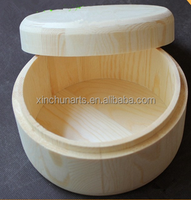 Handmade unfinished round wood box wholesale