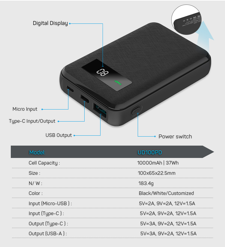 12 V Battery Type C QC3.0 Dual USB Output Fast Charging Power Bank 10000mAh