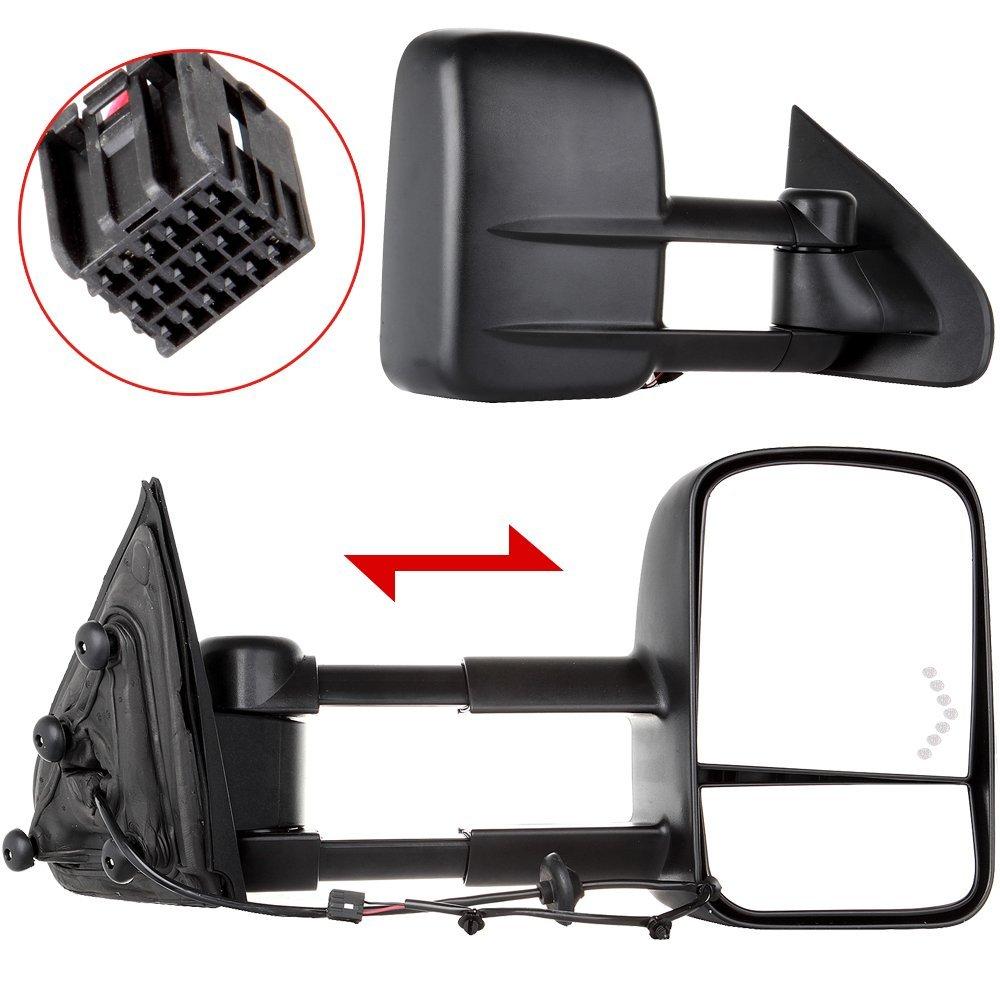 Scitoo Manual Towing Led Arrow Signal Lights Mirrors For 2014-2016 Chevy/GMC Silverado/Sierra 1500 2015-2016 Silverado/Sierra 2500 HD/3500 HD Side View Mirror Pair Set