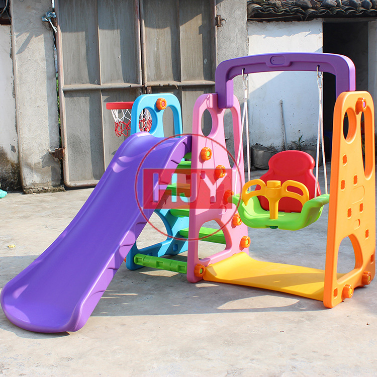 Small business park community children's outdoor playground equipment with plastic slides
