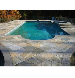 S014 Natural Building Stone Non-slip Off-White Slate Swimming Pool Border Tile for Pool Copping or Patio Stair Cases